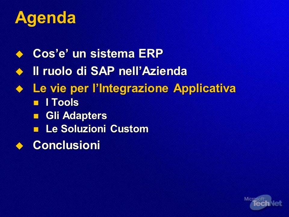 Agenda Cos'e' un sistema ERP Il ruolo di SAP nell'Azienda