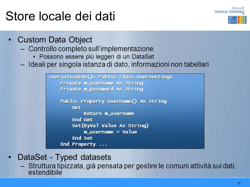 Store locale dei dati Custom Data Object DataSet - Typed datasets