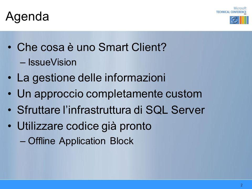 Agenda Che cosa è uno Smart Client La gestione delle informazioni