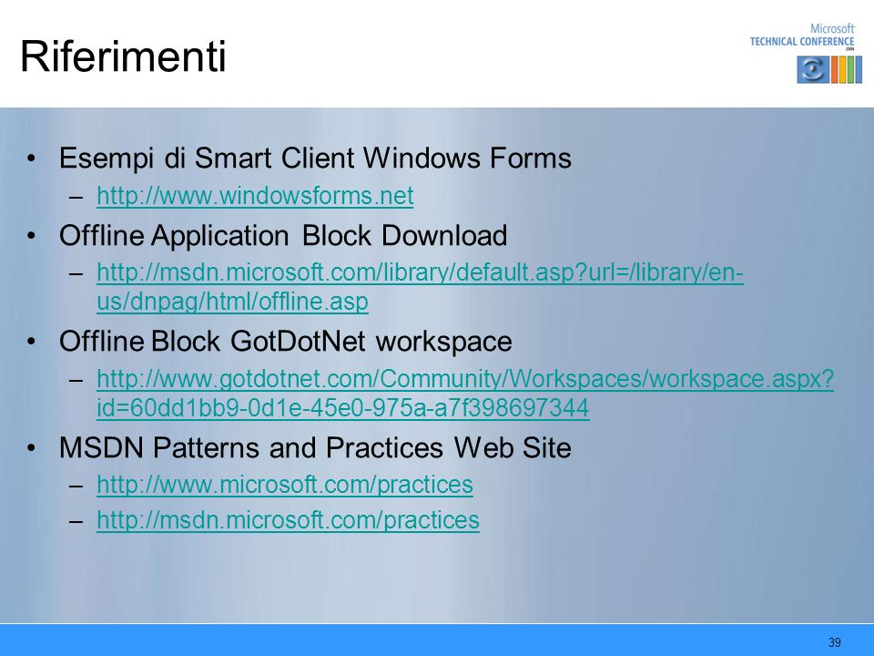 Riferimenti Esempi di Smart Client Windows Forms