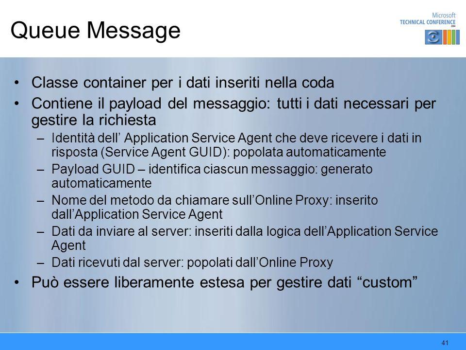 Queue Message Classe container per i dati inseriti nella coda