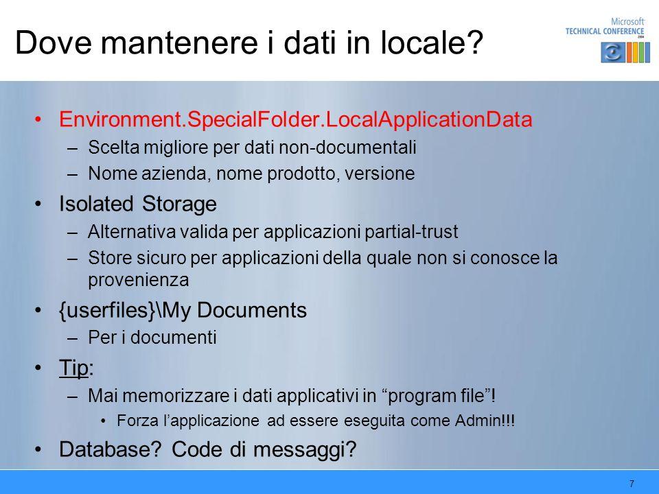 Dove mantenere i dati in locale