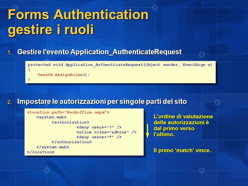 Forms Authentication gestire i ruoli