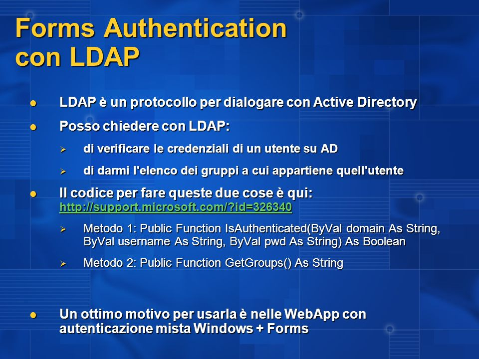 Forms Authentication con LDAP