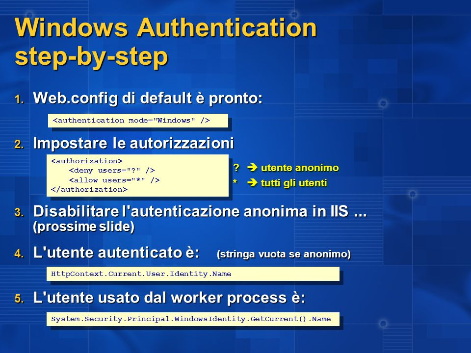 Windows Authentication step-by-step