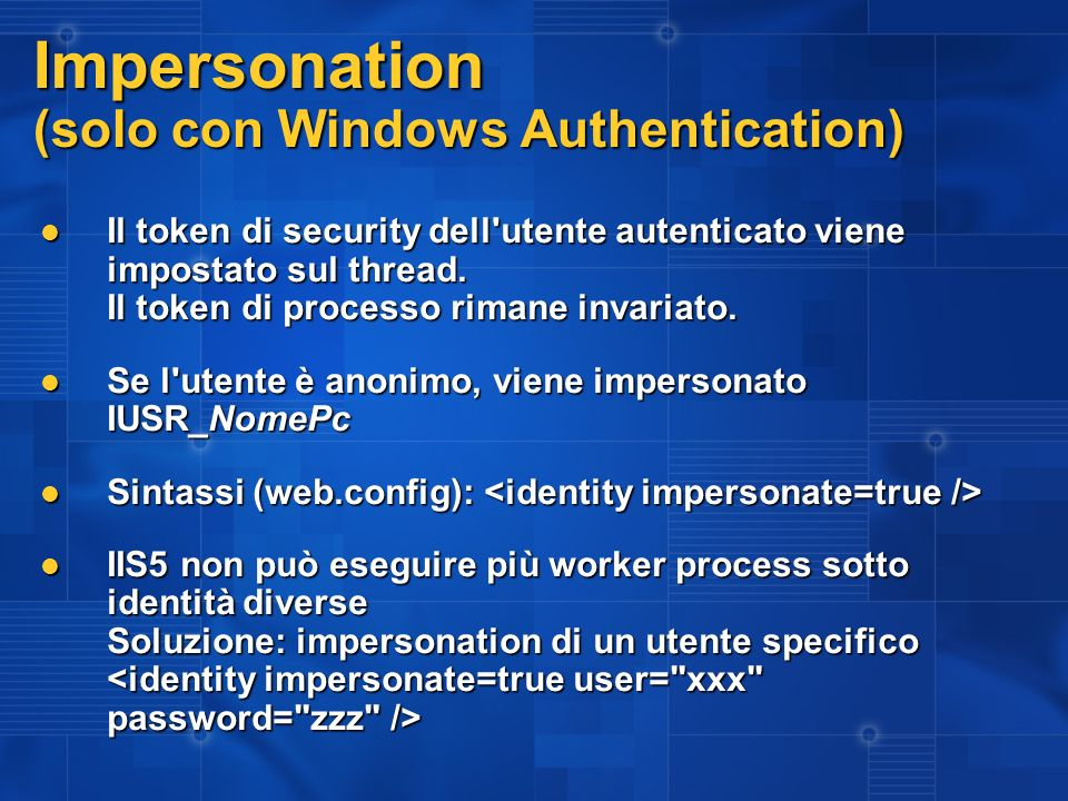 Impersonation (solo con Windows Authentication)