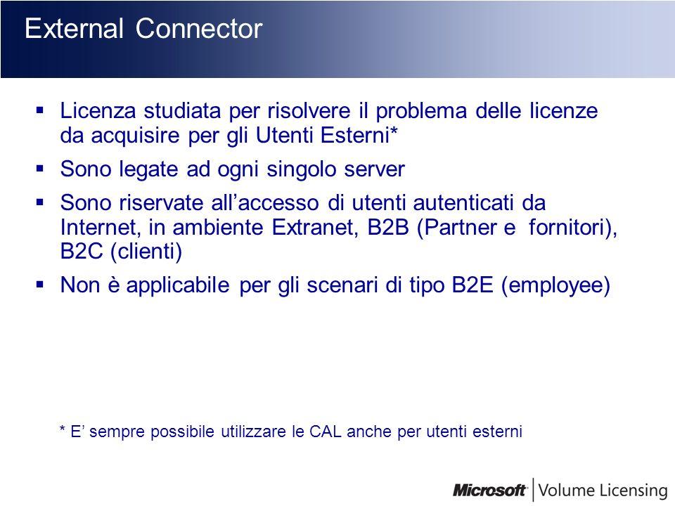 External ConnectorLicenza studiata per risolvere il problema delle licenze da acquisire per gli Utenti Esterni*