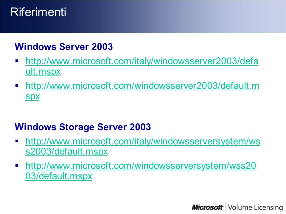 Riferimenti Windows Server 2003