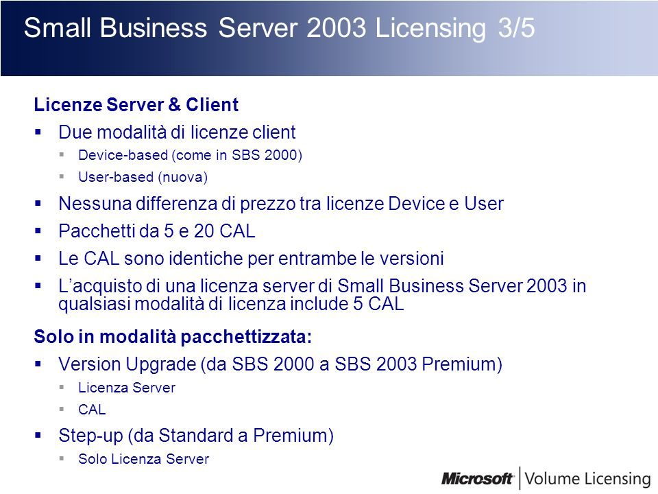 Small Business Server 2003 Licensing 3/5