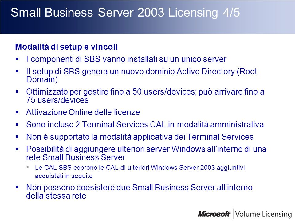 Small Business Server 2003 Licensing 4/5