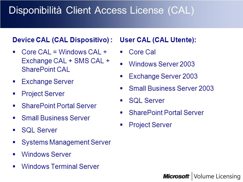 Disponibilità Client Access License (CAL)
