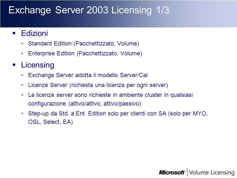 Exchange Server 2003 Licensing 1/3