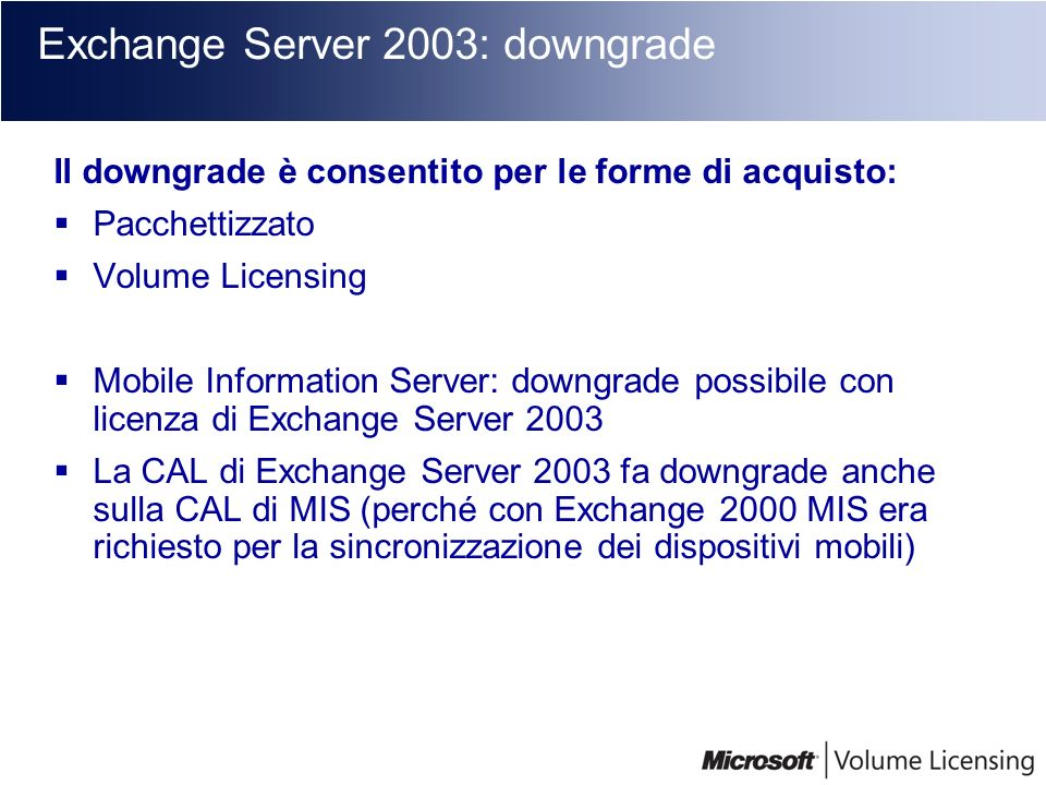 Exchange Server 2003: downgrade