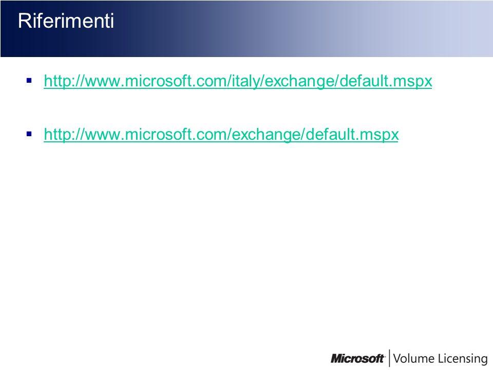 Riferimenti http://www.microsoft.com/italy/exchange/default.mspx