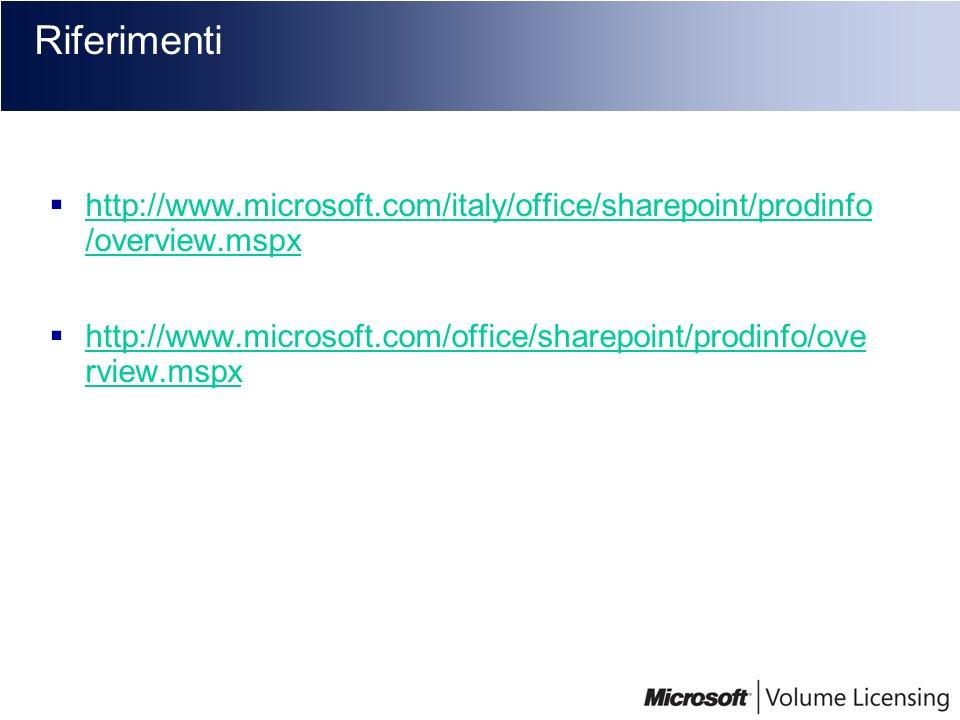 Riferimentihttp://www.microsoft.com/italy/office/sharepoint/prodinfo /overview.mspx.