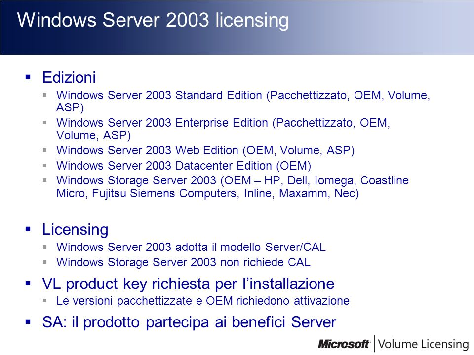 Windows Server 2003 licensing