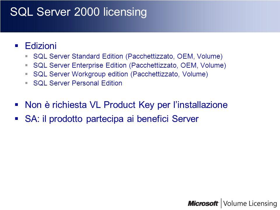 SQL Server 2000 licensing Edizioni