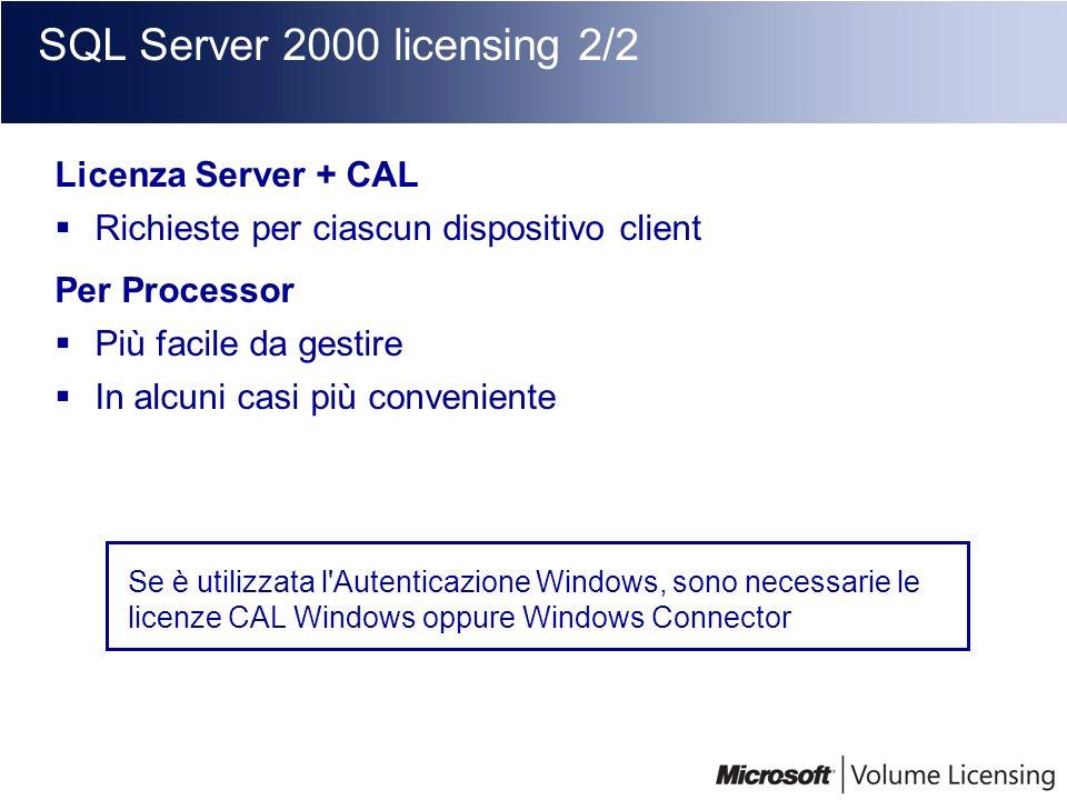 SQL Server 2000 licensing 2/2 Licenza Server + CAL