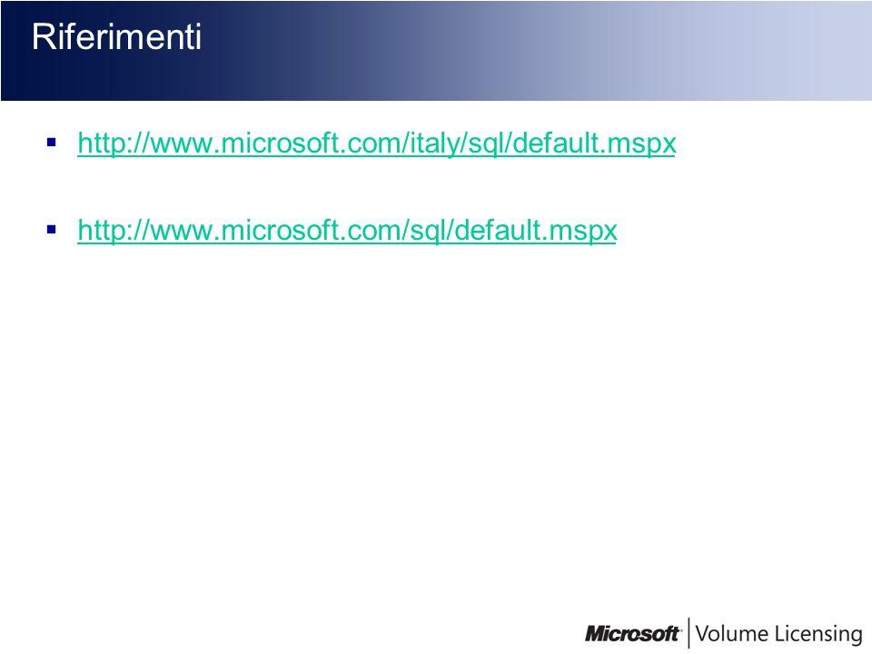 Riferimenti http://www.microsoft.com/italy/sql/default.mspx