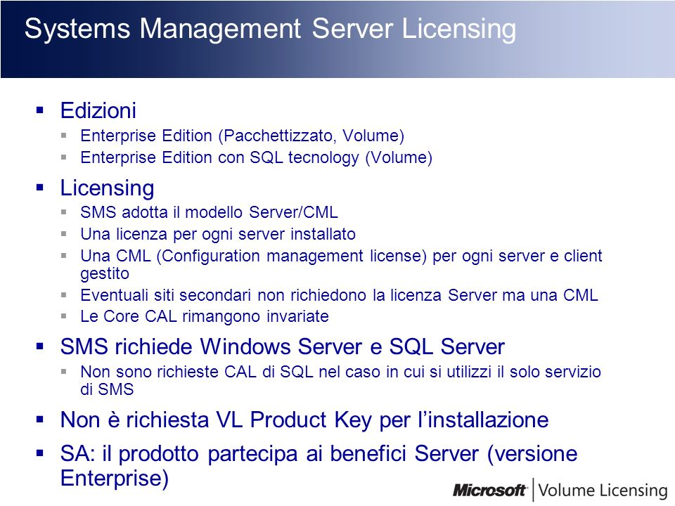 Systems Management Server Licensing