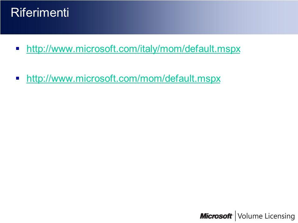 Riferimenti http://www.microsoft.com/italy/mom/default.mspx