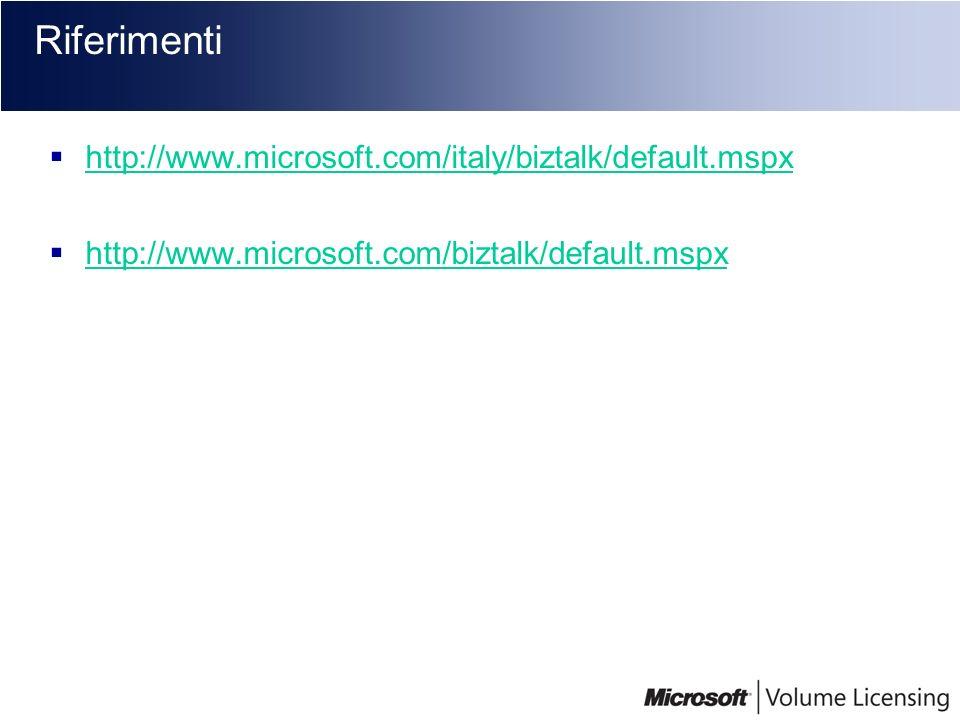 Riferimenti http://www.microsoft.com/italy/biztalk/default.mspx
