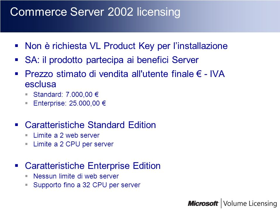 Commerce Server 2002 licensing