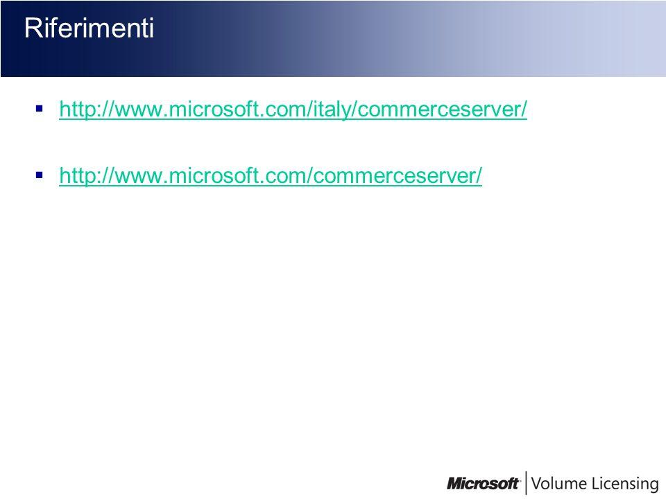 Riferimenti http://www.microsoft.com/italy/commerceserver/