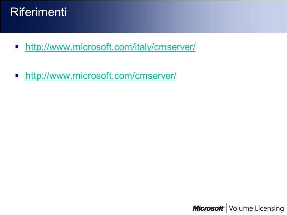 Riferimenti http://www.microsoft.com/italy/cmserver/