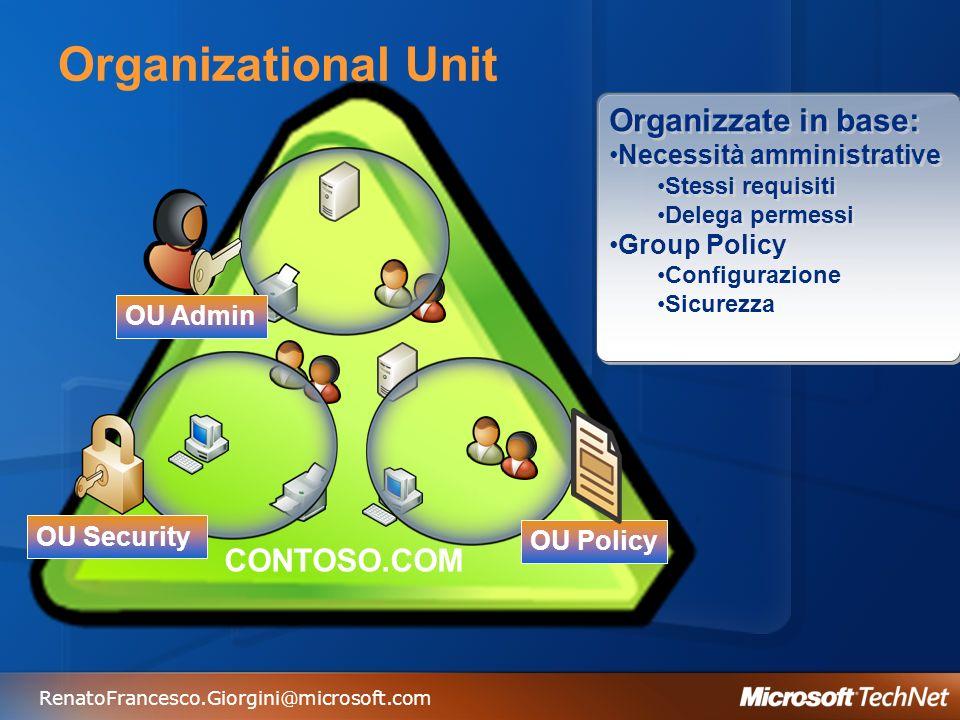 Organizational Unit Organizzate in base: CONTOSO.COM