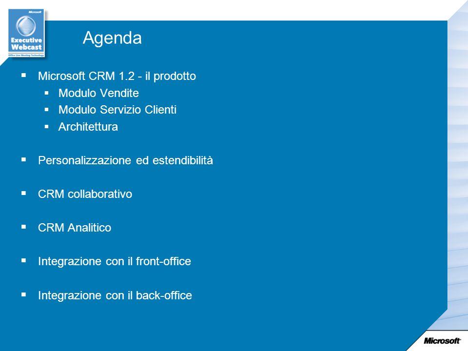 Agenda Microsoft CRM 1.2 - il prodotto Modulo Vendite
