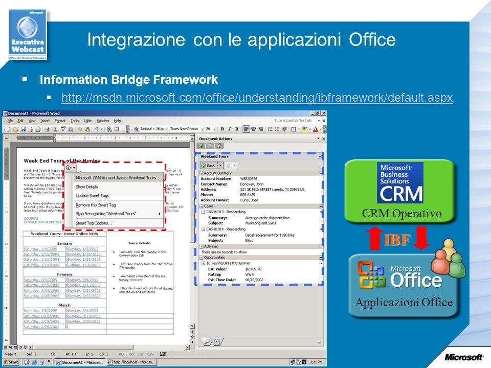 Integrazione con le applicazioni Office