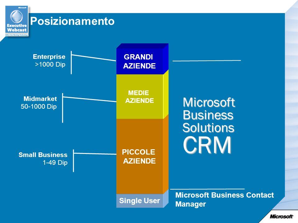 CRM Microsoft Business Solutions Posizionamento GRANDI PICCOLE AZIENDE