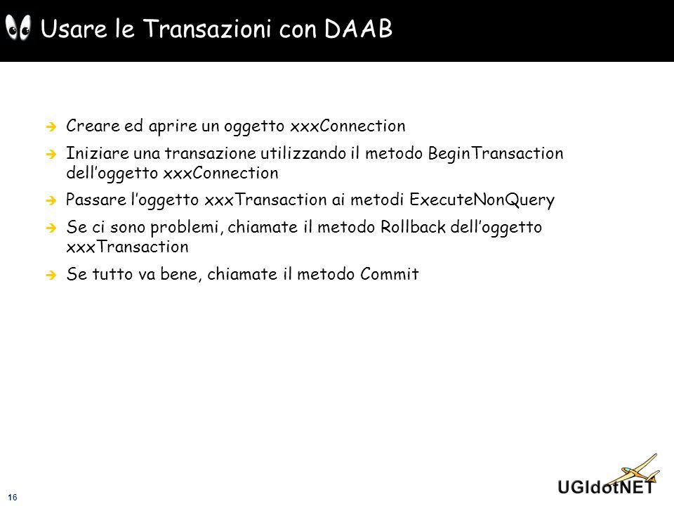 Usare le Transazioni con DAAB