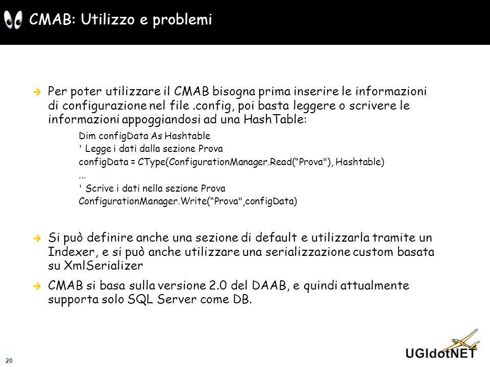 CMAB: Utilizzo e problemi