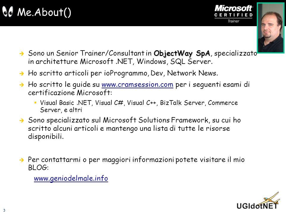 Me.About()Sono un Senior Trainer/Consultant in ObjectWay SpA, specializzato in architetture Microsoft .NET, Windows, SQL Server.