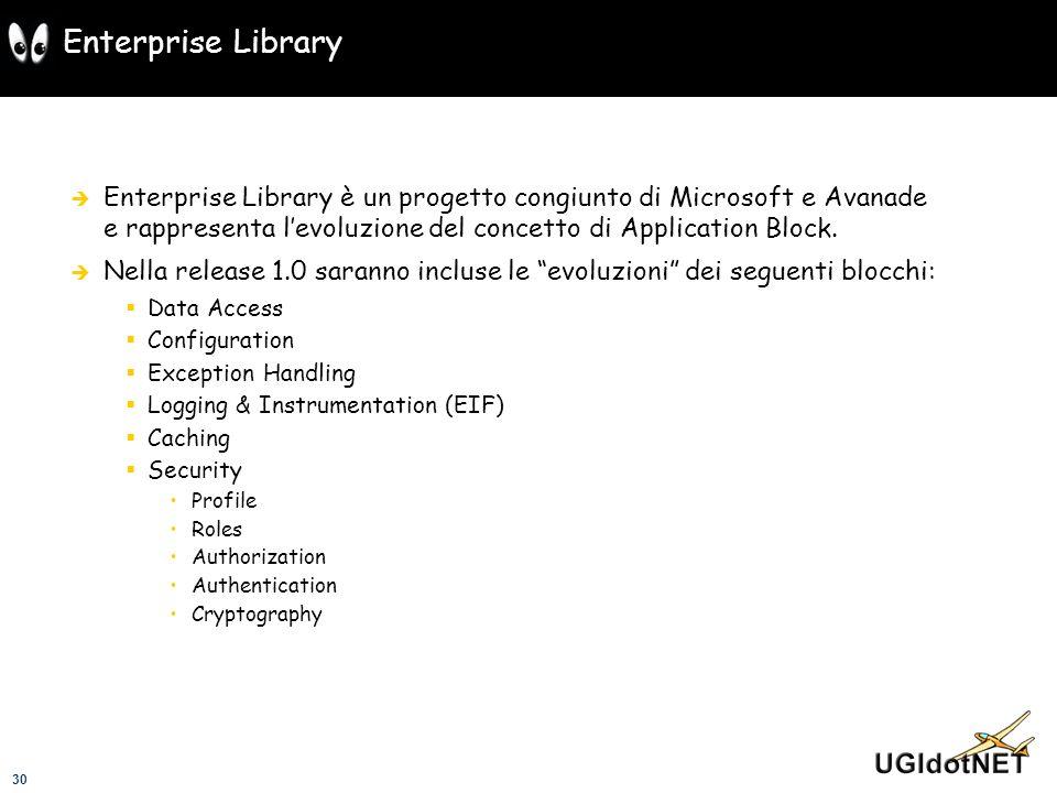 Enterprise Library Enterprise Library è un progetto congiunto di Microsoft e Avanade e rappresenta l'evoluzione del concetto di Application Block.