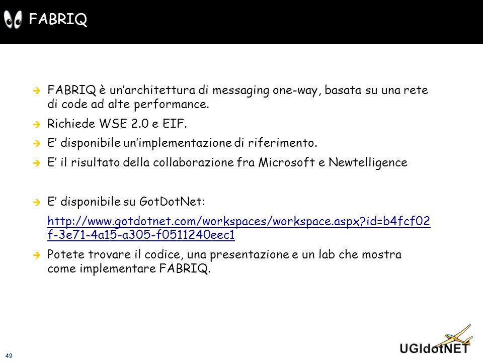 FABRIQFABRIQ è un'architettura di messaging one-way, basata su una rete di code ad alte performance.