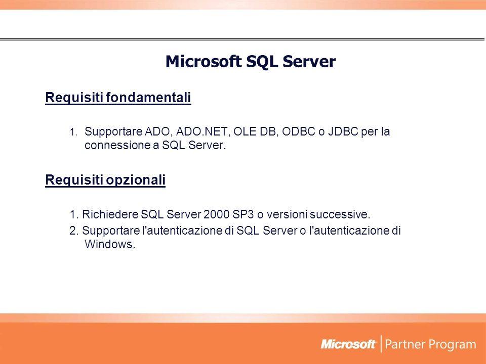 Microsoft SQL Server Requisiti fondamentali Requisiti opzionali