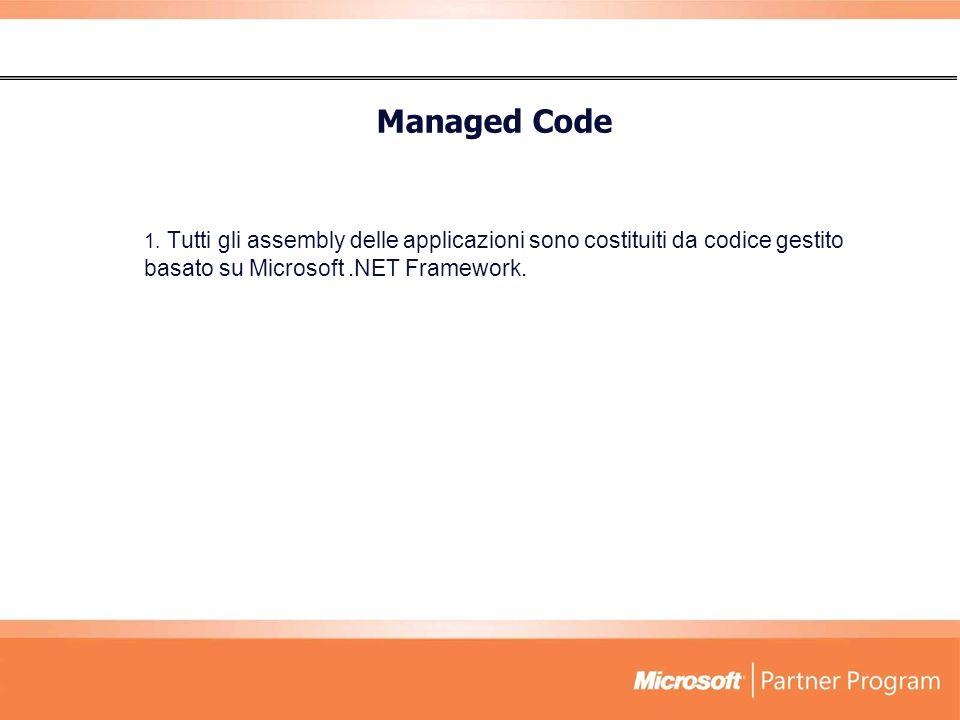 Managed Code Tutti gli assembly delle applicazioni sono costituiti da codice gestito basato su Microsoft .NET Framework.