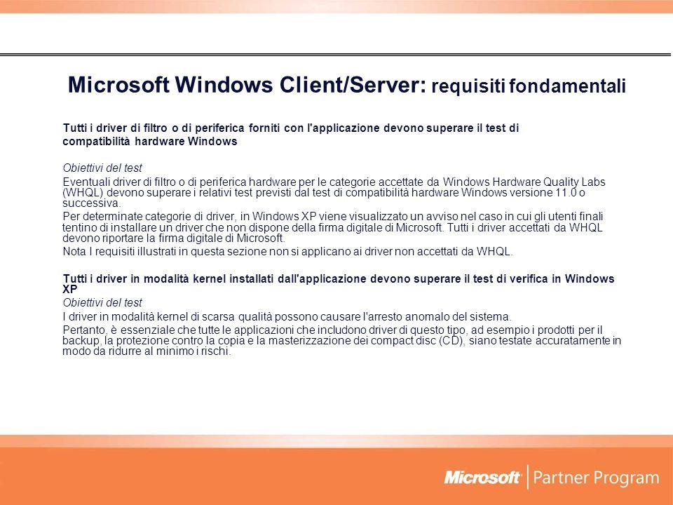 Microsoft Windows Client/Server: requisiti fondamentali