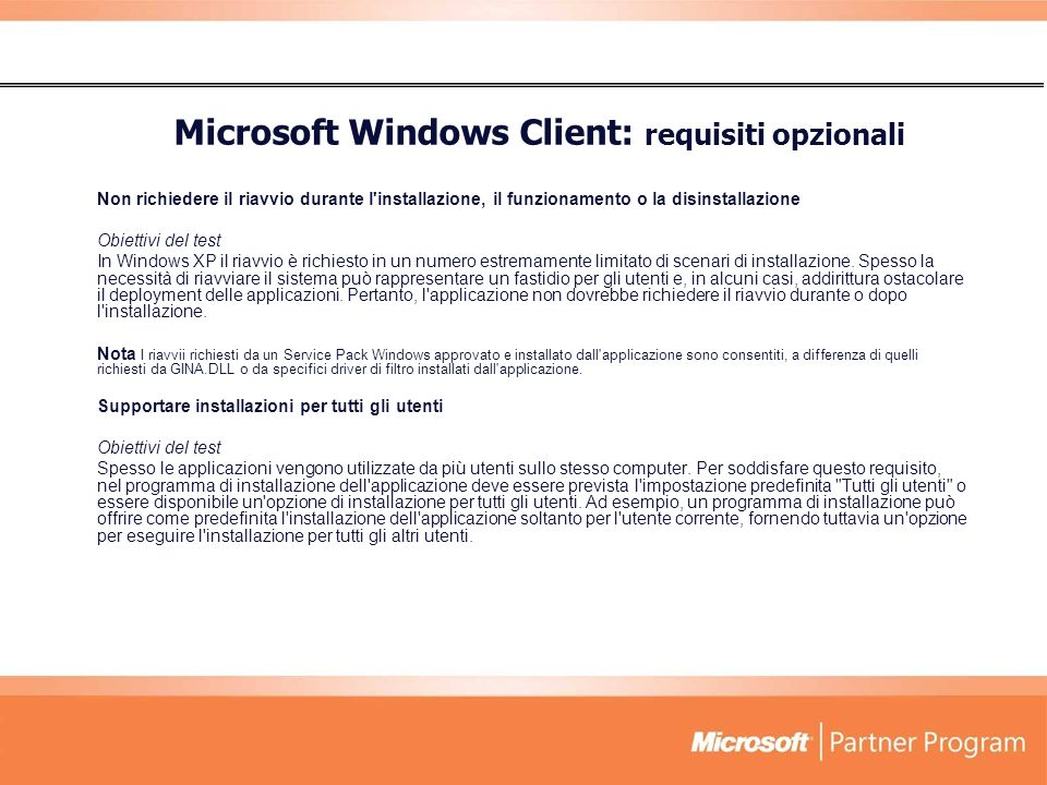 Microsoft Windows Client: requisiti opzionali