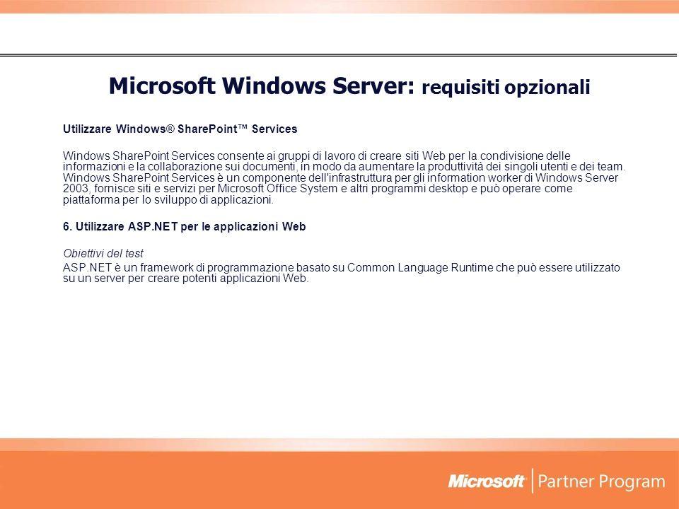 Microsoft Windows Server: requisiti opzionali