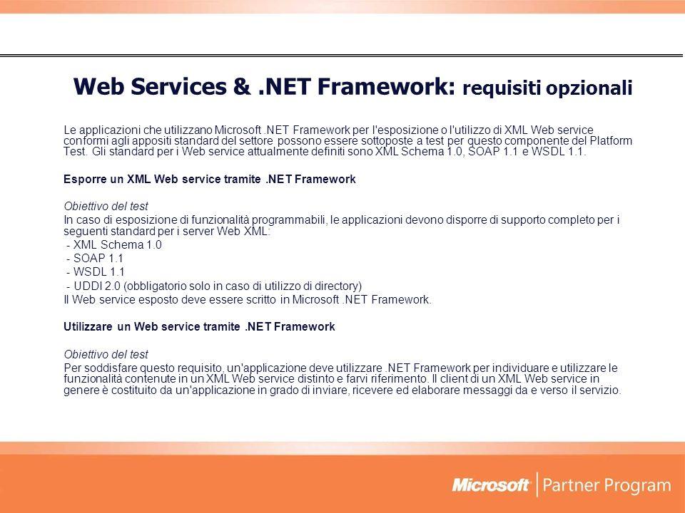 Web Services & .NET Framework: requisiti opzionali