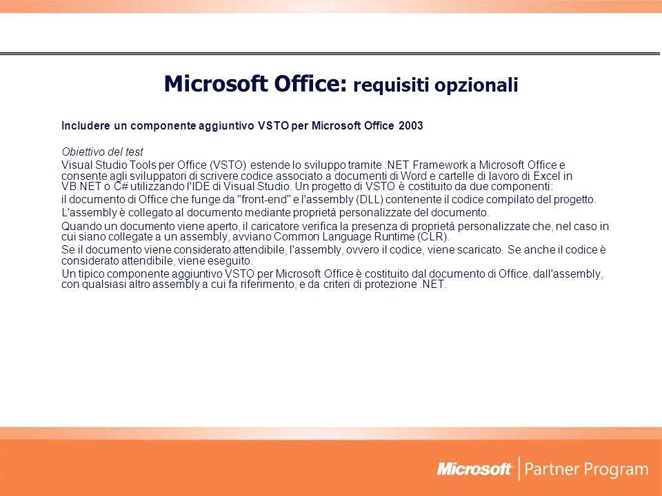 Microsoft Office: requisiti opzionali