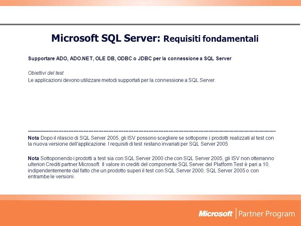 Microsoft SQL Server: Requisiti fondamentali