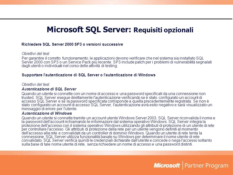 Microsoft SQL Server: Requisiti opzionali