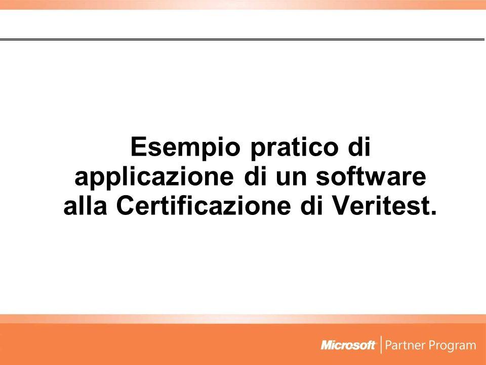 Esempio pratico di applicazione di un software alla Certificazione di Veritest.