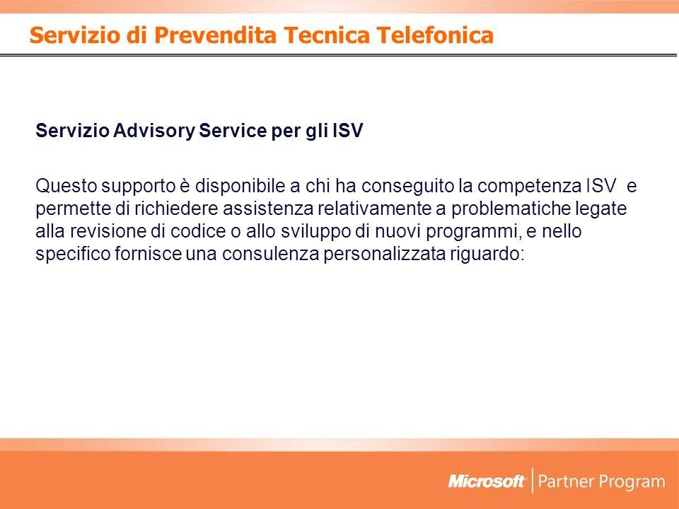 Servizio di Prevendita Tecnica Telefonica