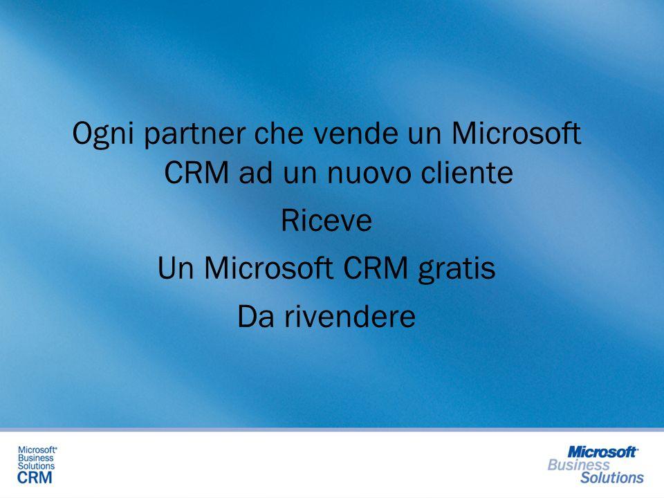 Ogni partner che vende un Microsoft CRM ad un nuovo cliente Riceve